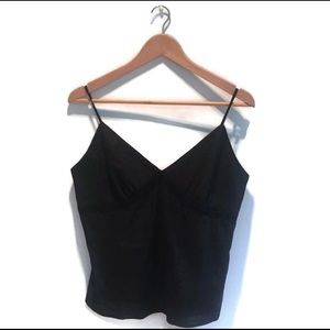 Banana Republic,linen camisole,black w lace detail